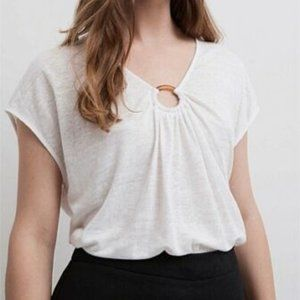Witchery White Linen Scoop Neck Top Size L
